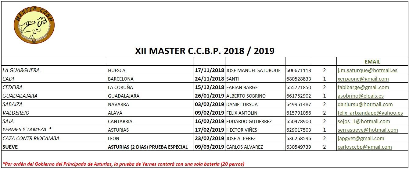Calendario XII Master
